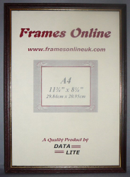 'A' Range Picture Frame - Brown Wood With Gold Trim